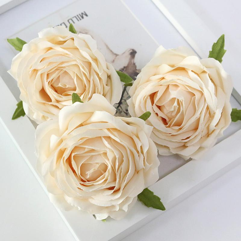 Flone High Quality Artificial Flower Head Retro Rose Head Silk Flower Wedding Christmas Party Decor Flores (6)