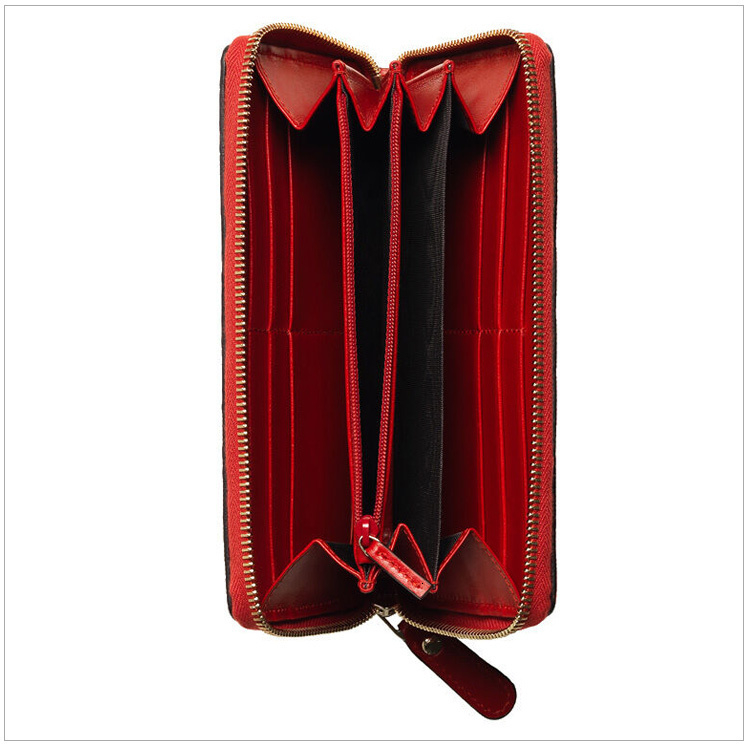 /  ladies red leather fashion plaid long zip wallet
