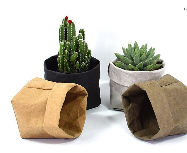 Foldable Pots Kraft Paper Flowerpot Waterproof Environmental Protection Planters storage bag Mini Garden Vegetable pouch Free Ship