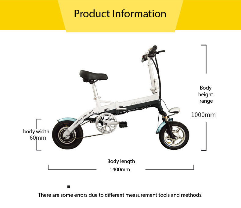 New Electric Bike 36V Two Wheels Electric Bicycle FrontRear Brake System WhiteBlueBlack Adult Folding Electric Scooter (17)