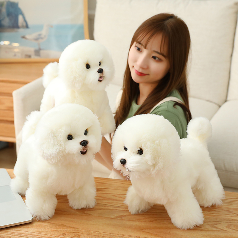 Cute and realistic Bichon Frise plush toy small simulation dog animal plush doll girl home decoration children creative Christmas gift