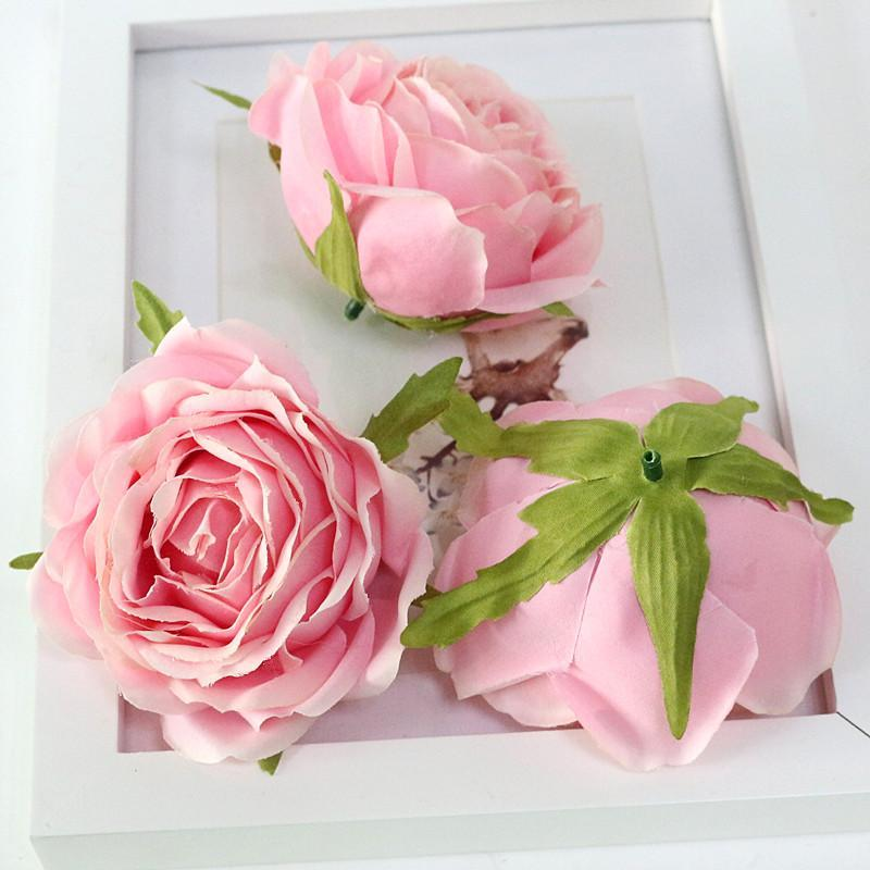 Flone High Quality Artificial Flower Head Retro Rose Head Silk Flower Wedding Christmas Party Decor Flores (12)