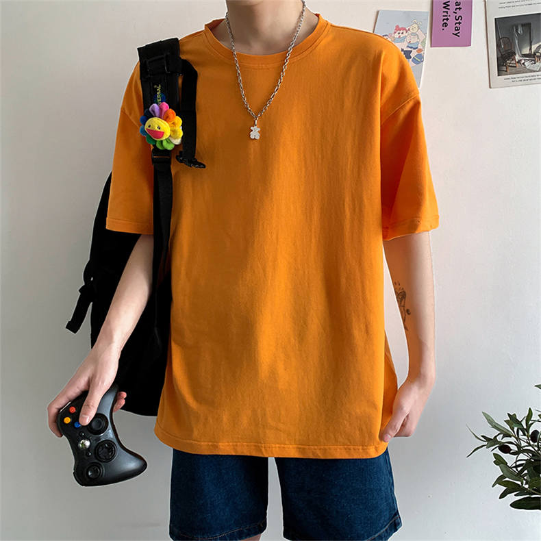 Plus Size Mens T-shirts Male Tops Tees Summer Tshirt Short Sleeve 100% Cotton Loose Fitted Oversize 4XL Plain Solid Man Clothing 02