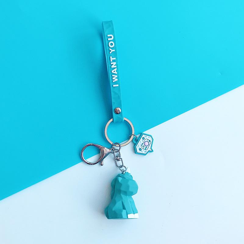 2019 New Fashion Cute Dinosaur Keychain Key Ring Fashion Cartoon PU Key Chain Creative Car Bag Phone Key Ring (22)