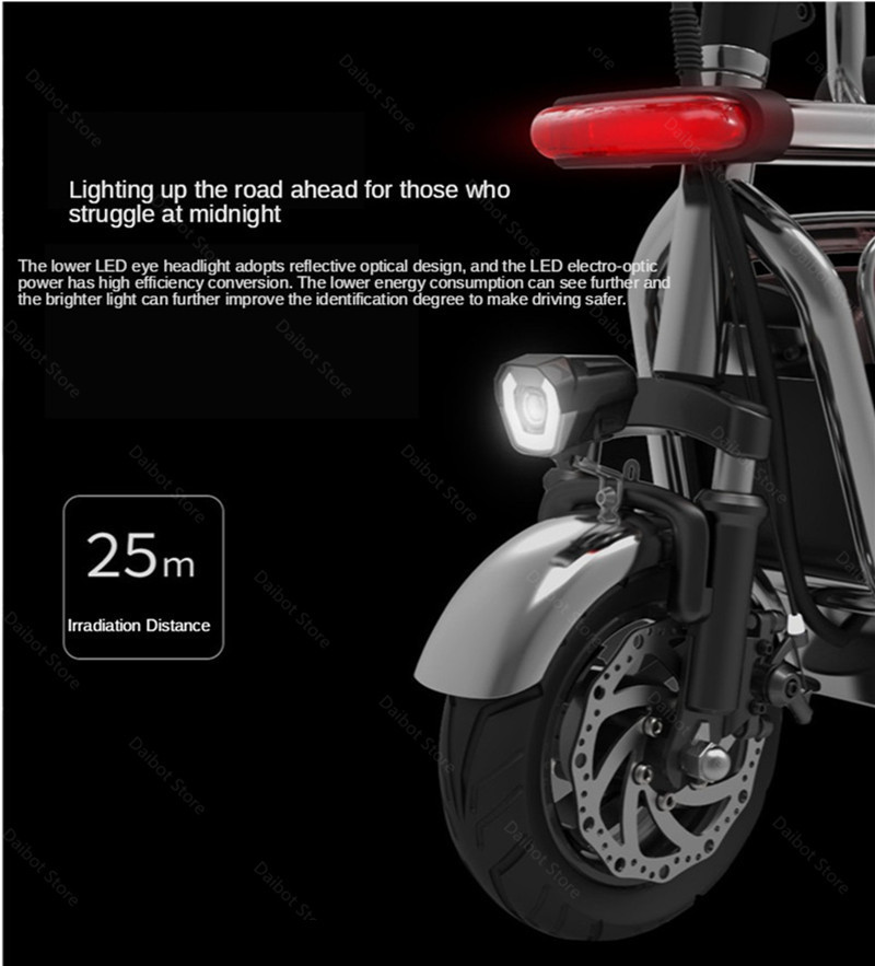 Electric Folding Bicycle Two Wheels Electric Bicycles Electric Scooter For GirlsLadies With SeatPet Basket 48V 80KM 40KMH (10)