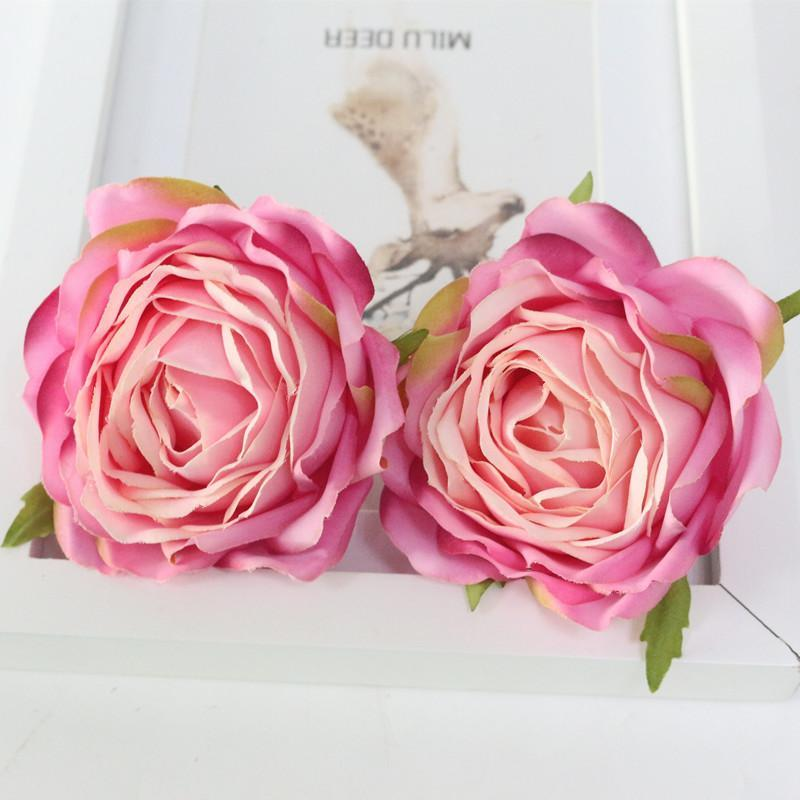 Flone High Quality Artificial Flower Head Retro Rose Head Silk Flower Wedding Christmas Party Decor Flores (13)