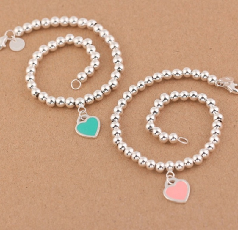 Hot sale Charm Bracelets S925 Sterling Silver beads chain bracelet with enamel grenn pink heart for women and day gift jewelry