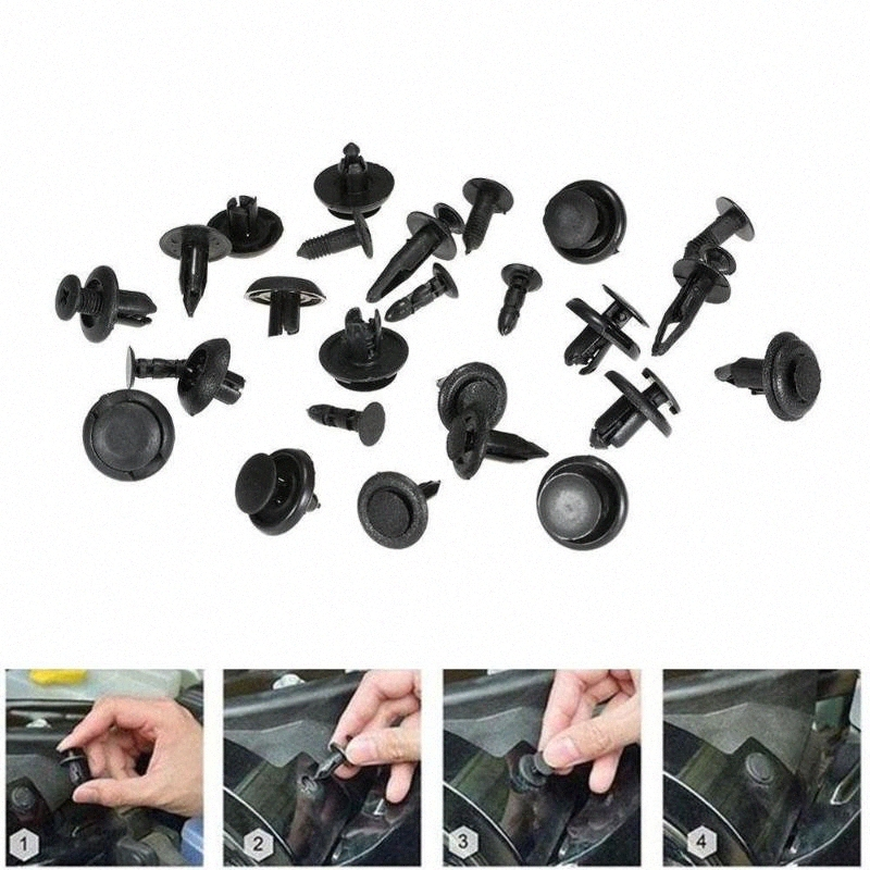 10 X Voiture Plastique Noir Vis Fit Rivet Garniture Panneau Fastener Clips 9 mm Dia trou