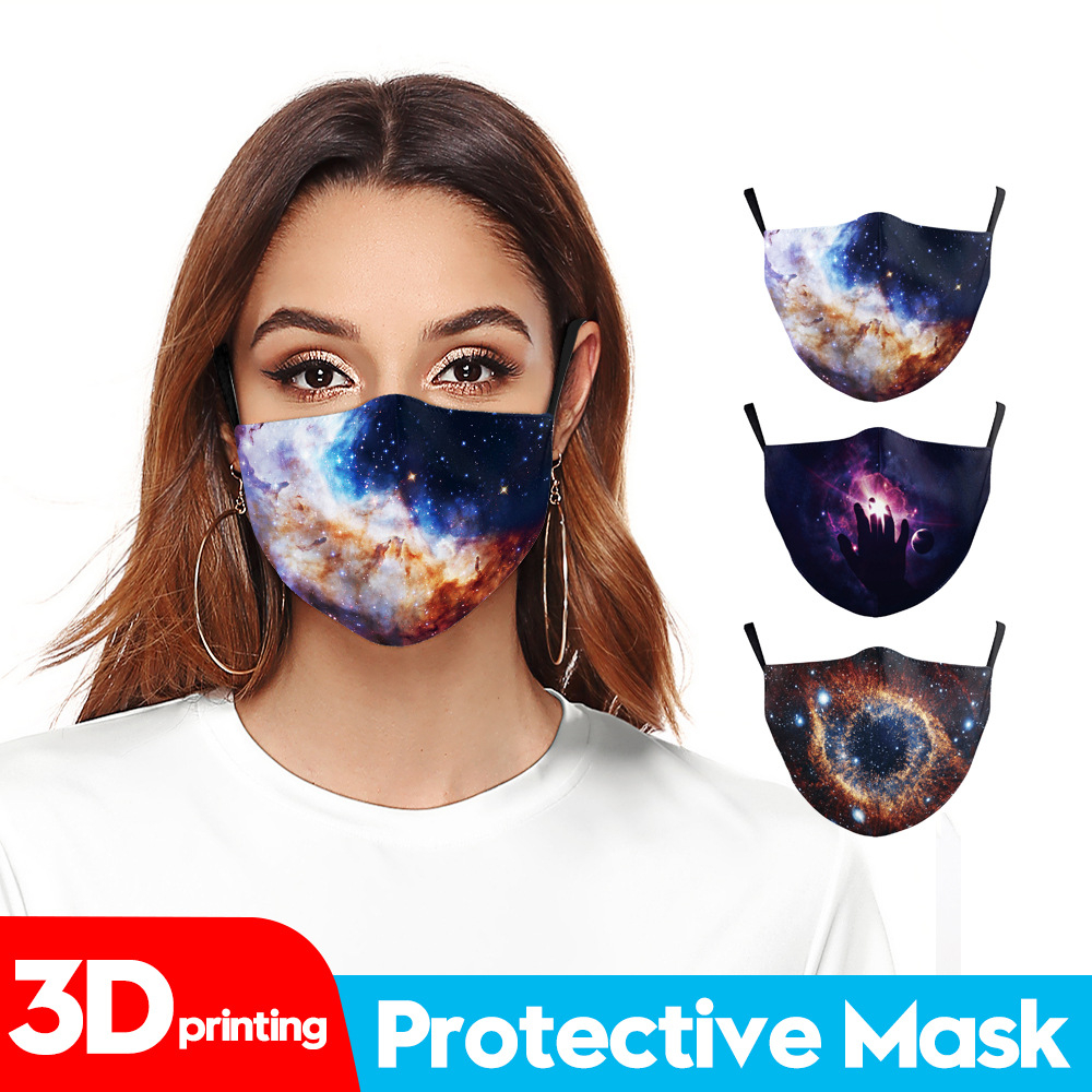 The New Summer Star Dream Sunblock and UV Protection Digital Printed Adult Mask Is Available for Both Men and Women