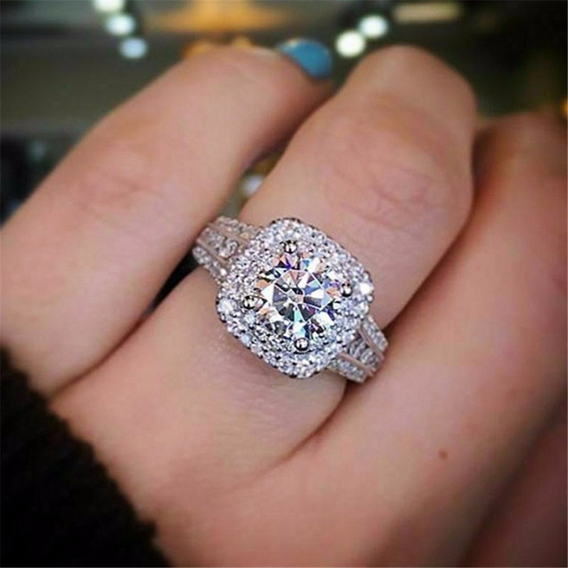 Luxury 925 Sterling Silver Engagement Ring 3.5CT Diamond Halo White Gold Jewelry Natural Gemstone Wedding Band Anniversary Gift