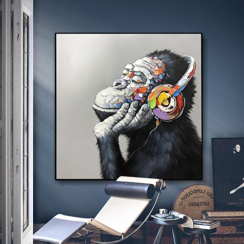 23,6x 31,5 sans Cadre PTLAWS Graffiti Singe Gorille Animal Toile Peinture Murale Art pour la d/écoration de la Chambre de Livinng Affiches et Impressions modernes-60x80 cm