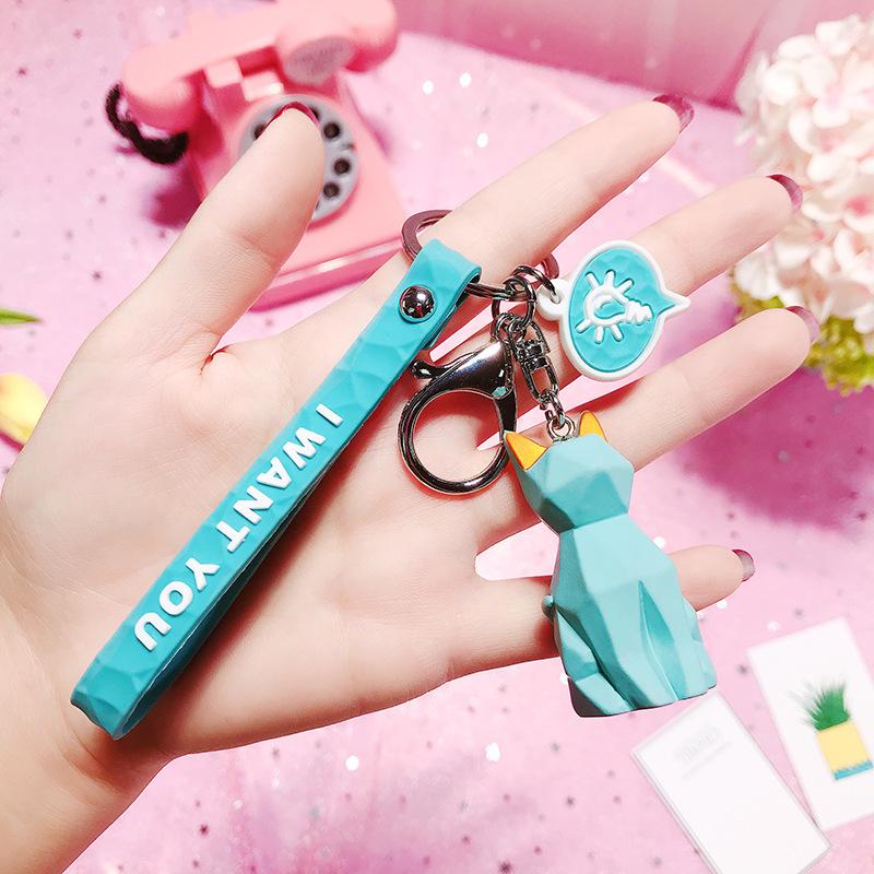 2019 New Fashion Cute Dinosaur Keychain Key Ring Fashion Cartoon PU Key Chain Creative Car Bag Phone Key Ring (10)