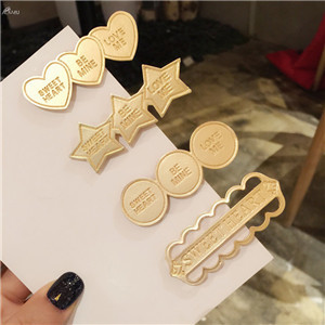 AOMU--Korea-English-Letter-Hair-Clips-for-Women-Barrettes-Metal-Gold-Color-Round-Heart-Shape