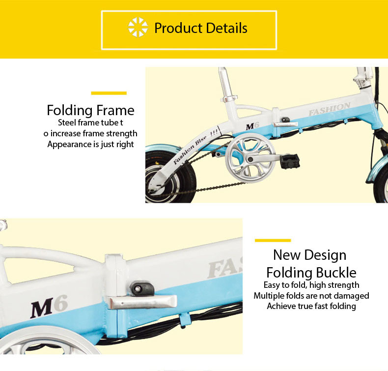 New Electric Bike 36V Two Wheels Electric Bicycle FrontRear Brake System WhiteBlueBlack Adult Folding Electric Scooter (8)