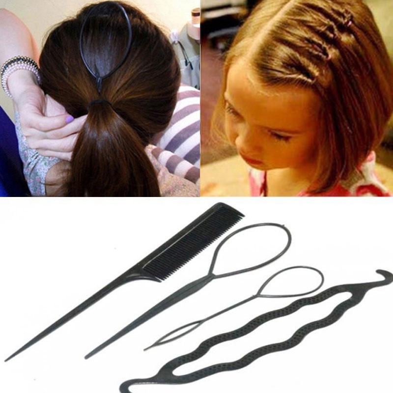 4Pcs colors Kids Girls Braid Wig Elastic Ties Pig Ponytail Ring Hair Extensions