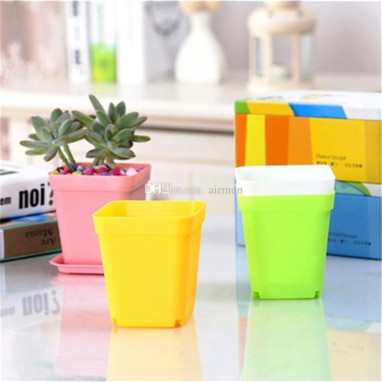 Mini Flower Pots With Chassis Colorful Plastic Nursery Pots Flower Planter For Gerden Decoration Home Office Desk Planting DHL