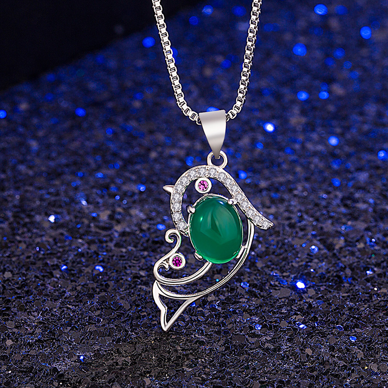 Natural Hand-carved Chinese Jade Pendant Silver necklace bulk Wholesale