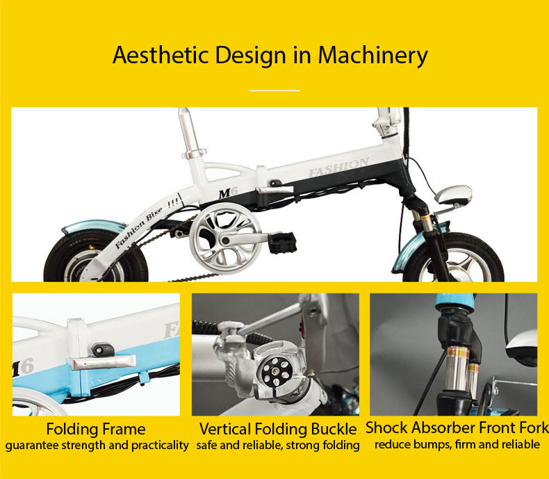 New Electric Bike 36V Two Wheels Electric Bicycle FrontRear Brake System WhiteBlueBlack Adult Folding Electric Scooter (9)
