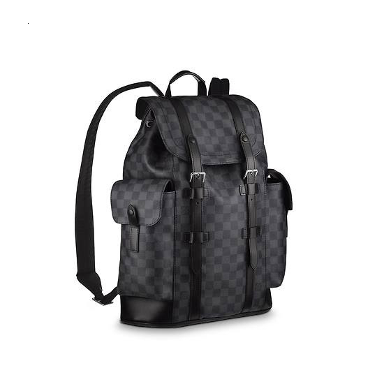 / CHRISTOPHER Small Black Plaid Fashion Men's Backpack N41379