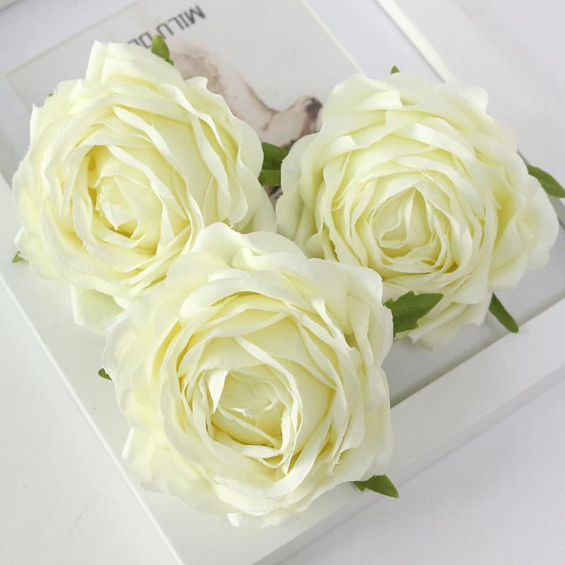 Flone High Quality Artificial Flower Head Retro Rose Head Silk Flower Wedding Christmas Party Decor Flores (8)