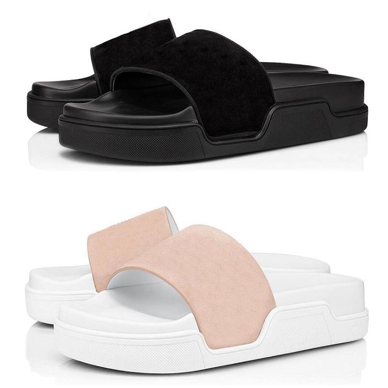 Quality Red Bottoms Men Slippers Fashion Slides Triple Black White Pink Spikes Mens Flat Flip Flops Beach Hotel Platform Sandals