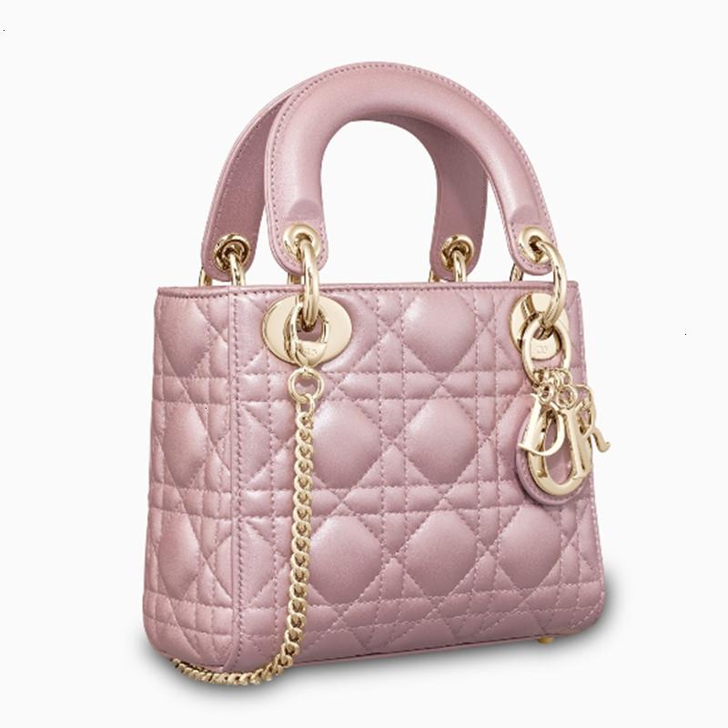 / Lady  pink rattan plaid three-grain pearly sheepskin chain handbag M0505OADU_M15P