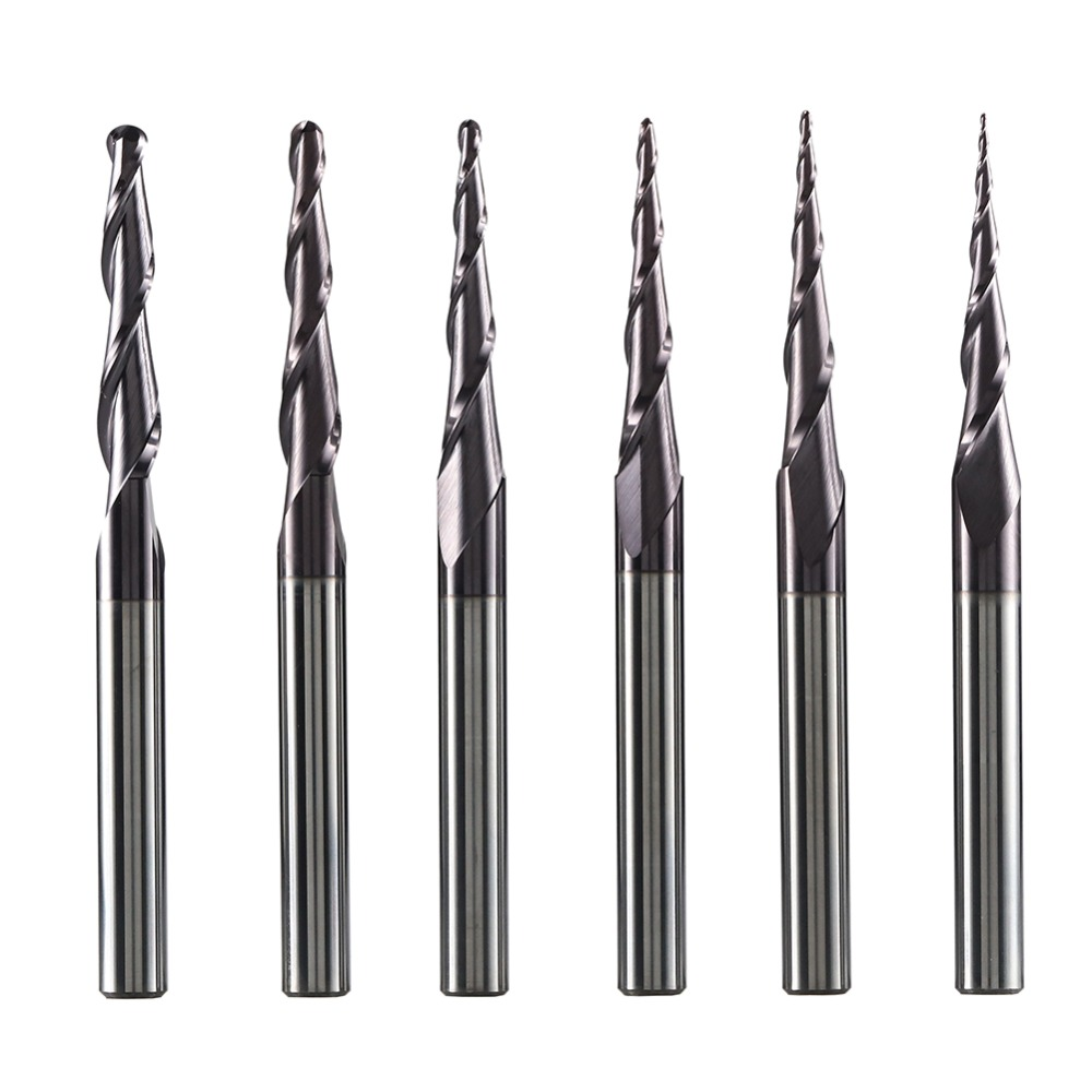5PC 6mm Shank Tapered Coating  Ball Nose End Mill Bits R1.5mm 2-Flute CNC Tool