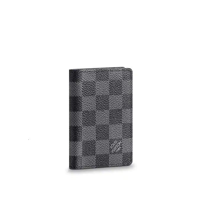LLMen's Small Leather Card Holder N63143, Black Grey Checkerboard
