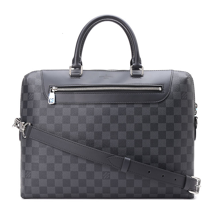 / Porte-DocumentsJour grey checkerboard canvas/with leather men's dual-use portable briefcase N48260