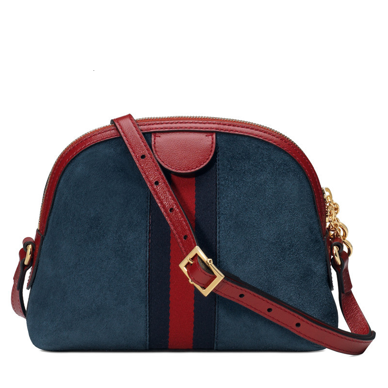 [Package tax] G/ Gnew Ophidia Ms. small blue suede spell red leather one shoulder shell bag