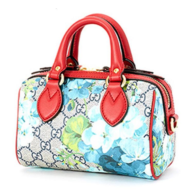 /  Women's canvas blue geranium mini bucket bag handbag 546312 G