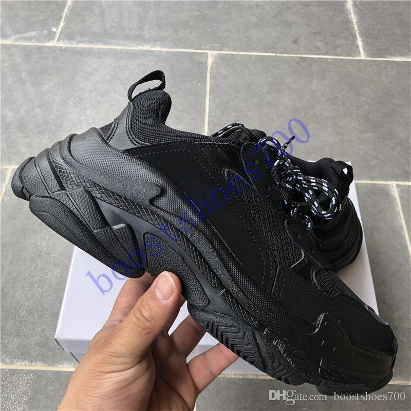 2020 Triple s Paris casual dad shoes men women triple black white grey pink fashion men sneakers US 5.5-11