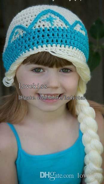 Frozen Children Wool Cap Kids Cap Baby Crochet Hats Girls Caps Hand Knitted Caps Kids Crochet Girls Hats Child Winter Hat L39826