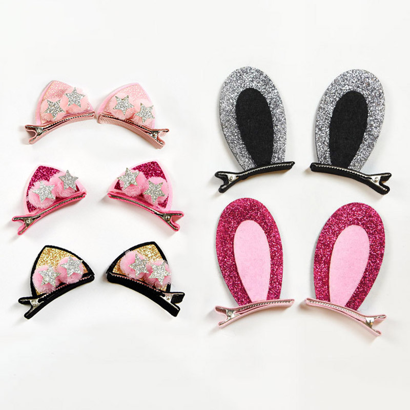 10pcs Baby Girls Hair Clip Star PU Leather Pin Kids Hairpin Xmas Gift Butterfly