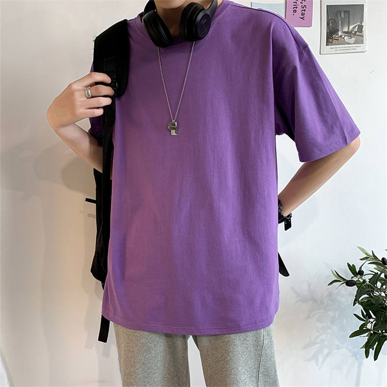 Plus Size Mens T-shirts Male Tops Tees Summer Tshirt Short Sleeve 100% Cotton Loose Fitted Oversize 4XL Plain Solid Man Clothing 10