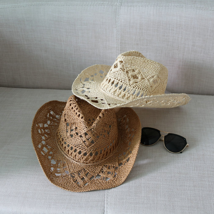Simple Wild Beach Cool The Summer Straw Women Men Hollow Western Cowboy Hat with American Flag Leisure Travel Sunscreen Breathable Color : 1, Size : 58cm