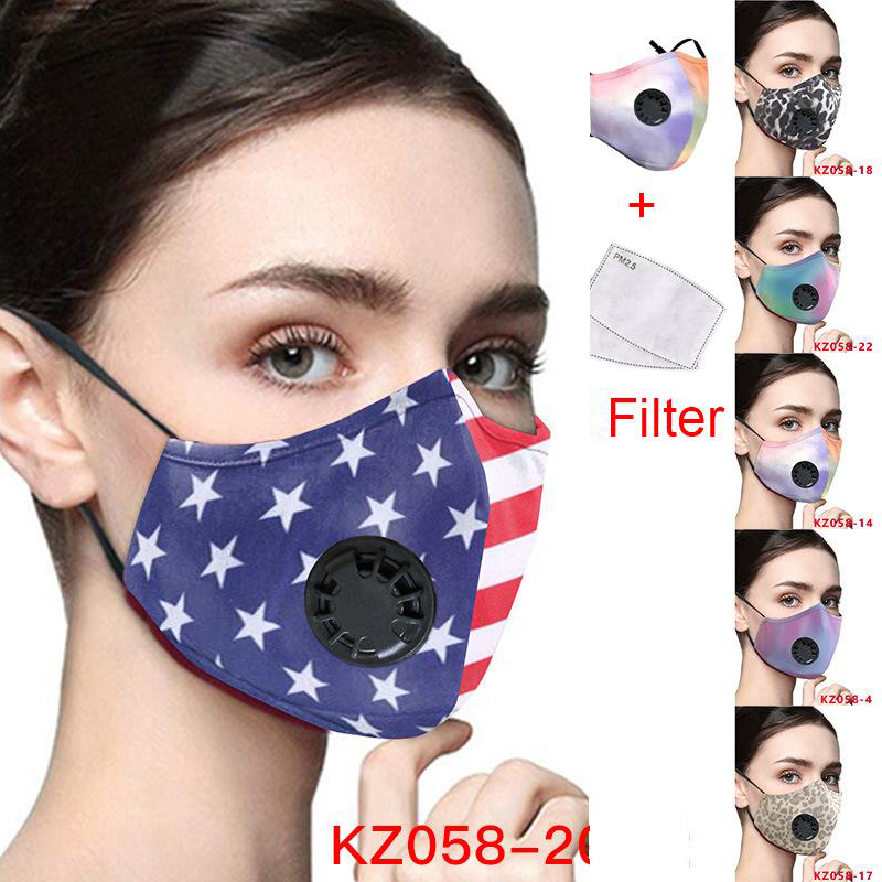 American flag leopard breathable face masks print designer face mask adjustable protective mask dust and haze with PM2.5 filter cross-border