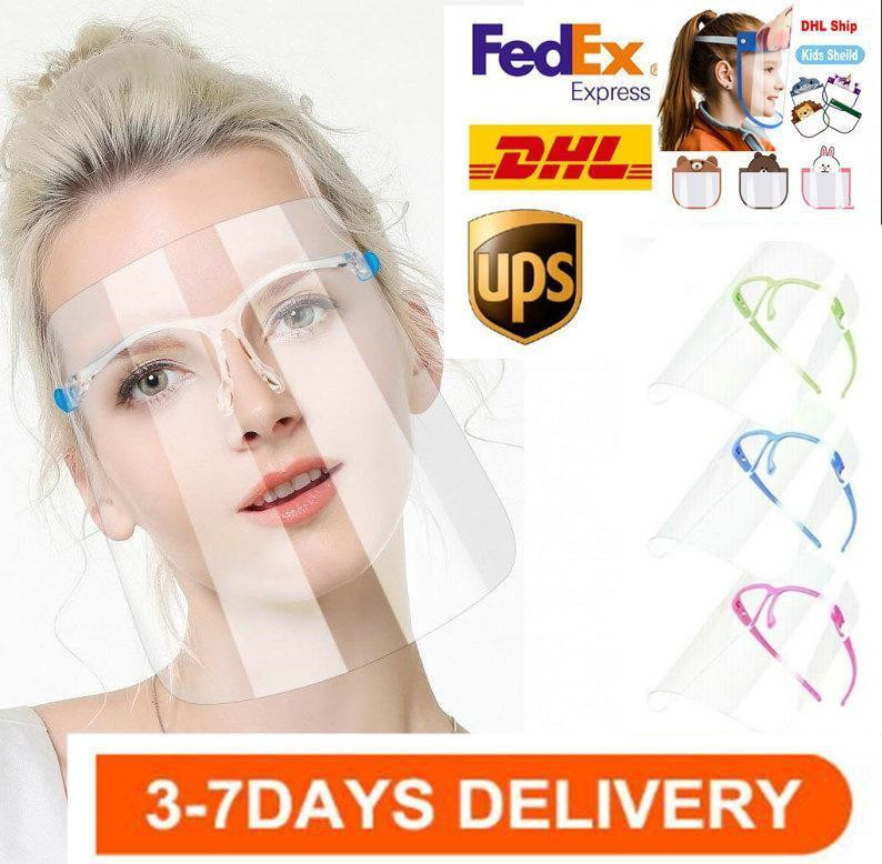 DHL Transparent Anti Fluids Face Shield Anti Dust Splash Mouth Clear Mask Safety Protective Face Shield Mask