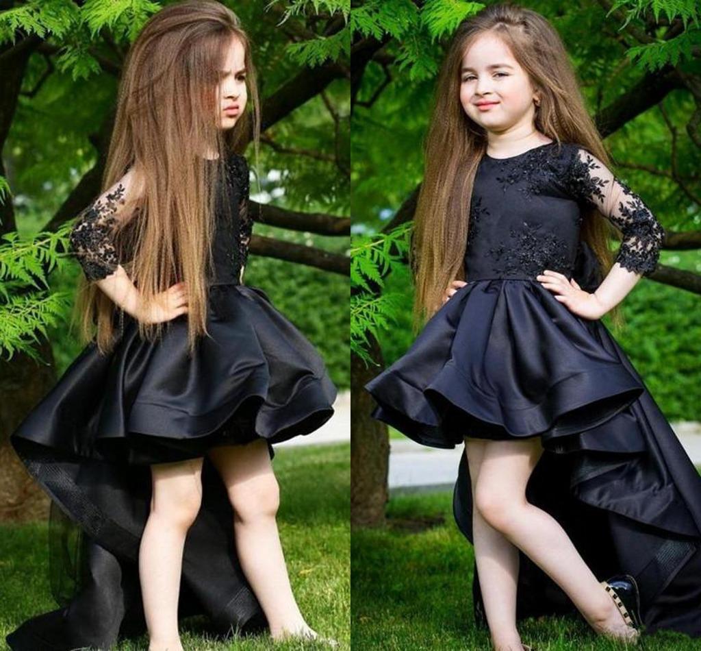 blumenmädchenkleider schwarz hoch tief mit rüschen besetzten satin-kleinen  mädchen-festzug-partei-kleid-juwel ausschnitt appliqued spitze