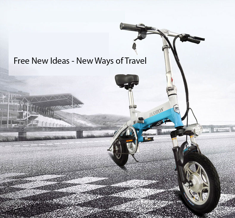 New Electric Bike 36V Two Wheels Electric Bicycle FrontRear Brake System WhiteBlueBlack Adult Folding Electric Scooter (11)