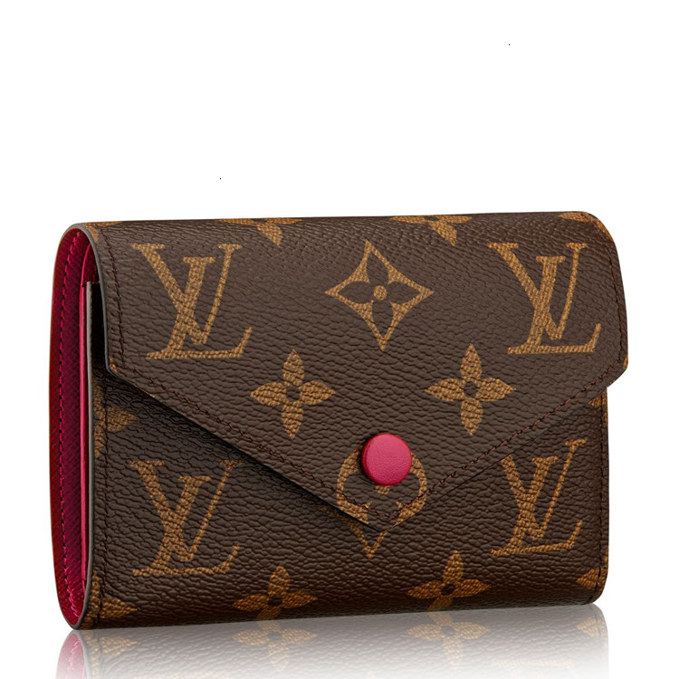 / Presbyopia/Red Short Thirty-Fold Button Wallet VictorineM41938 Brown
