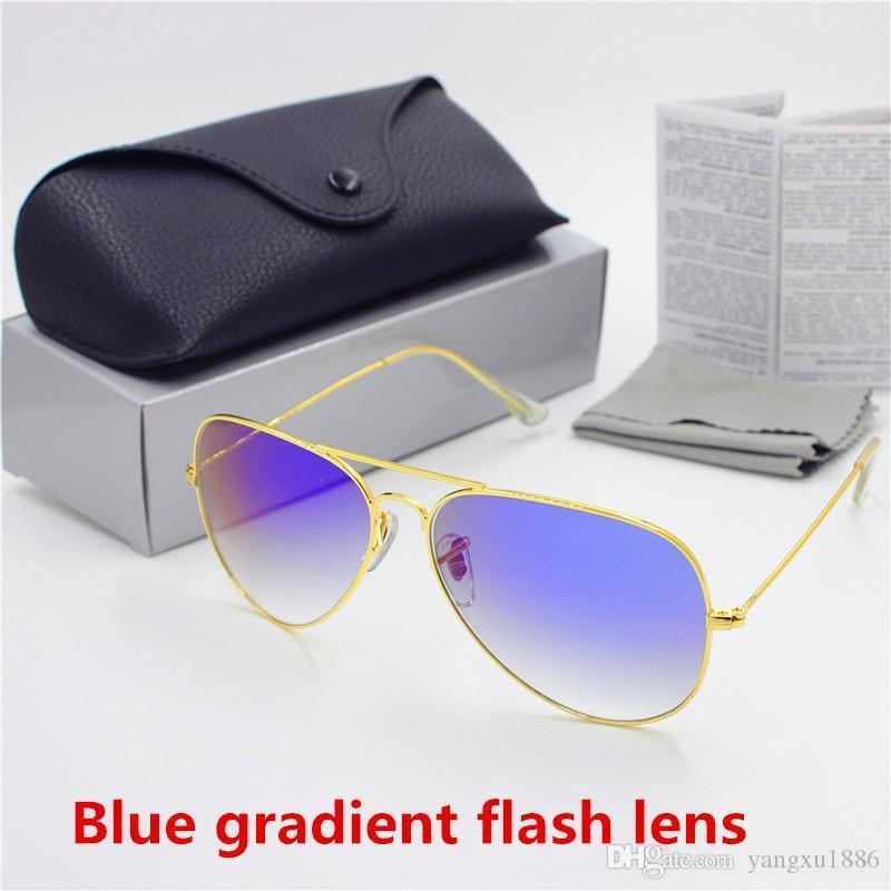 High quality men and women retro sunglasses gold frame blue gradient flash HD glass 62mm lens UV400 protect black case