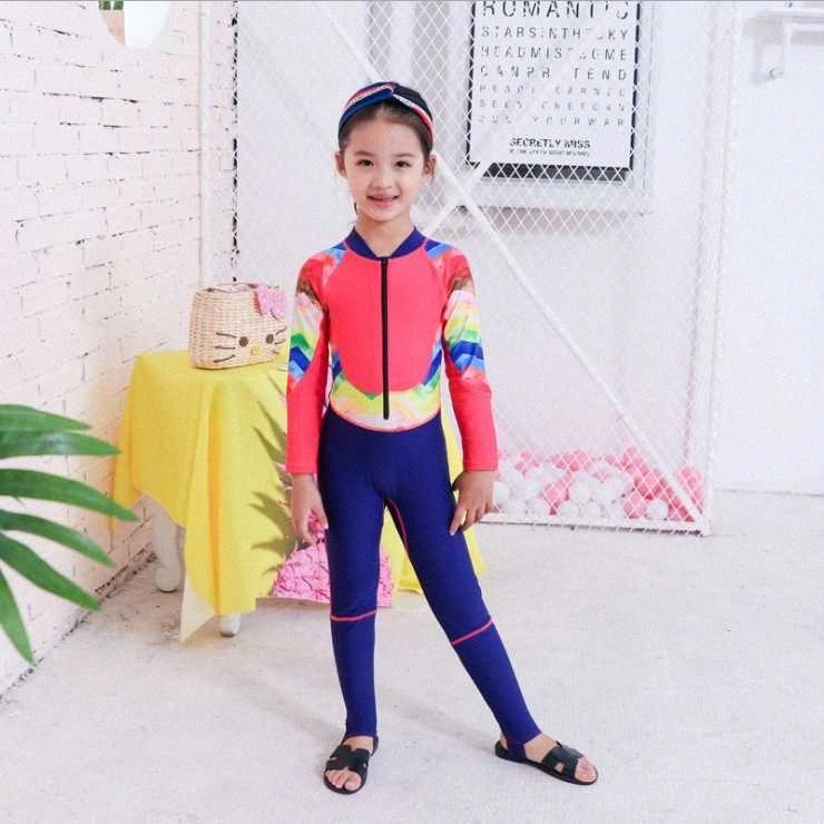 Digirlsor Toddler Kids Girls Two Piece Rash Guard Swimsuits Long Sleeve Sun Protection Wetsuit Beach Swimwear Surf Suit