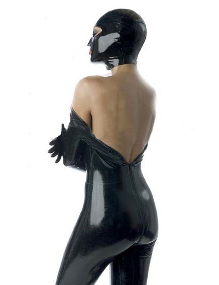 Hot Sale Limit Solid Time Real New Hot Sexy Women Latex Hoods Open Eyes&mouth Mask Monochrome Common Hood Female