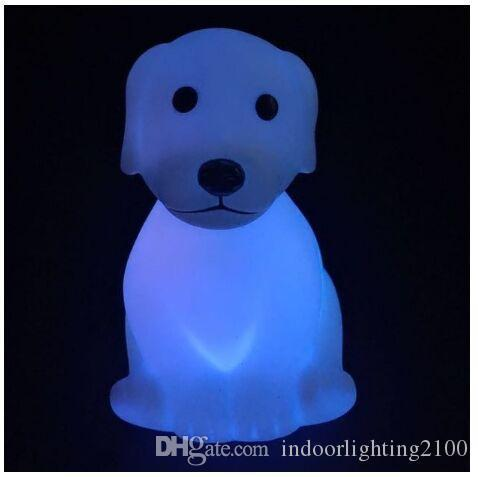Wholesale Seven Color Changeable Led Cartoon Dog/Puppy Night Lights Lamp Kids Birthday Gifts Flash Toys Decoration Lights