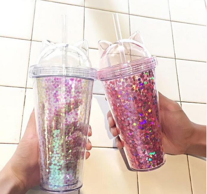 Cat Ear Flashing Double Layer Cup Cute Cartoon Creative Plastic Cups Tumbler Sequin Juice Wine Bottle With Straw Gift Cup