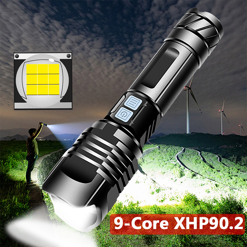 USB 9000lm Flashlight With Magnet Cob XHP90 Handy LED Rechargeable Work Torch