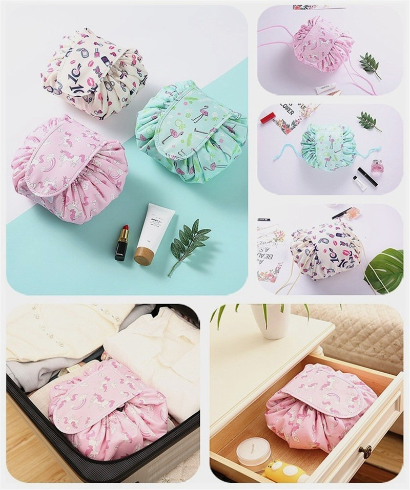 Women Fashion Drawstring Cosmetic Bag Large Lazy Makeup Organizer Foldable Travel Storage Wash Bag Beauty Cosmetic Pouch Vely Bags 08