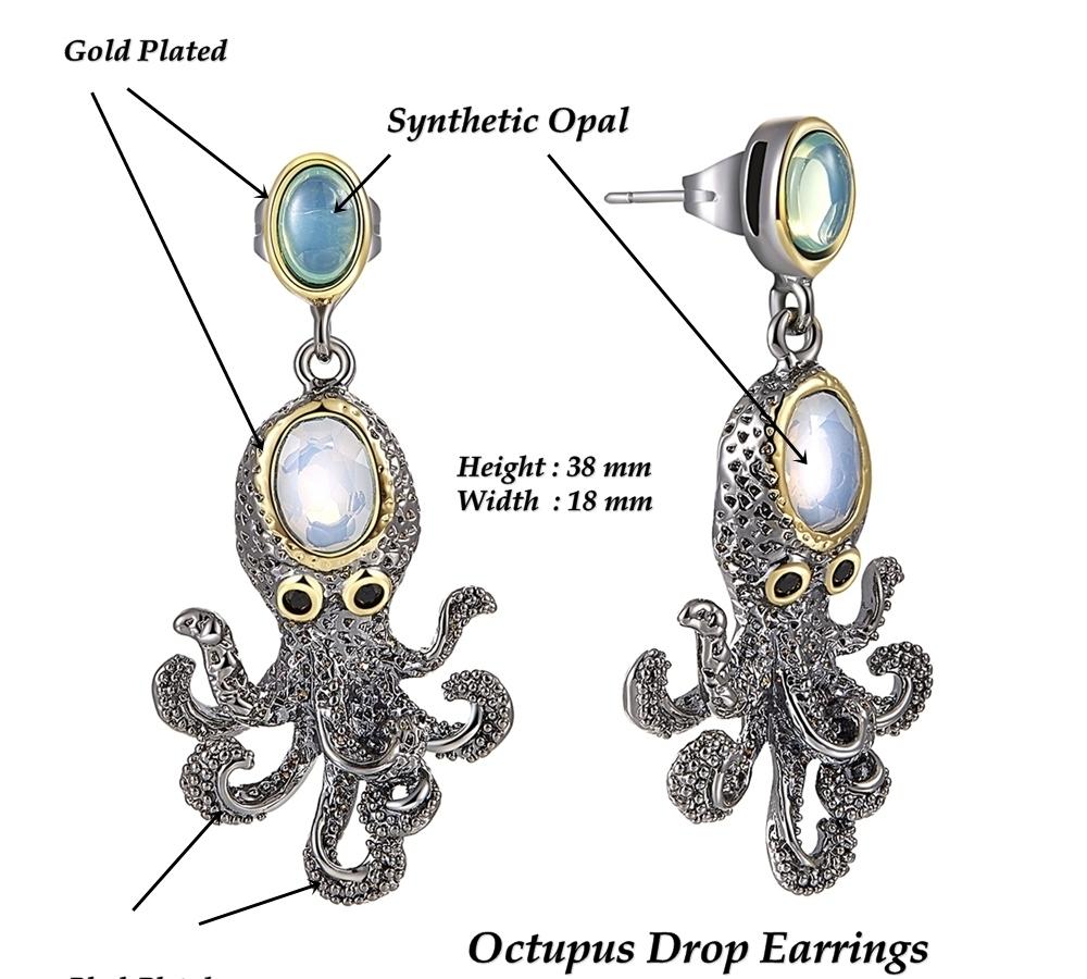 WE3875 Dimension octopus earrings vintage antique gothic jewelry women cz zircon (1)