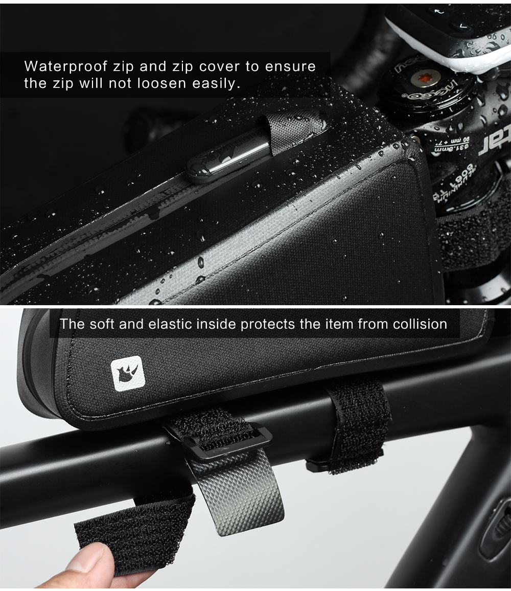 Rhinowal Bicycle Bags Waterproof Cycling Top Front Tube Frame Bag Large Capacity MTB Road Bicycle Pannier Black Bike Accessories (11)